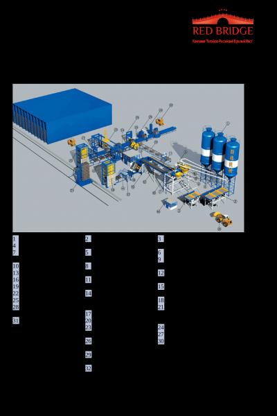 Блок-схема и спецификация автоматической линии производства блоков и кирпича стр.1