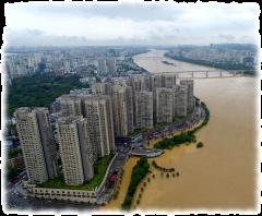 Река Люцзян затопила часть улиц в городе Лючжоу