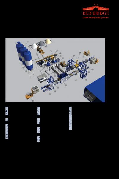 Блок-схема и спецификация полуавтоматической линии производства блоков и кирпича стр.1